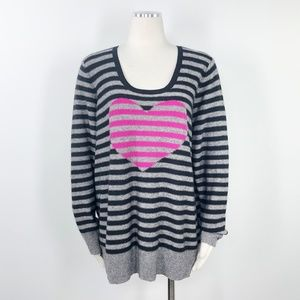 Halogen Cashmere Stripe Heart Scoop Sweater 2X XXL